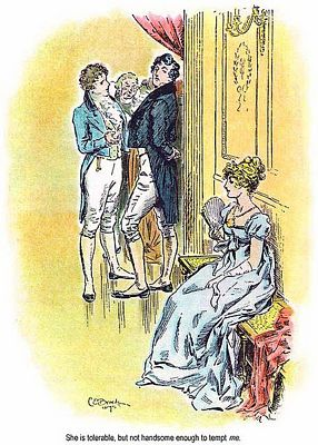 Detail of C. E. Brock illustration for 1895 edition of Pride and Prejudice, ch 3, public domain image