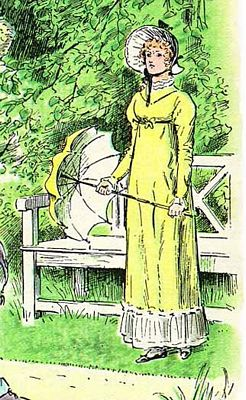 Elizabeth Bennett, Detail of C. E. Brock illustration for 1895 edition of Pride and Prejudice, ch 57, public domain image
