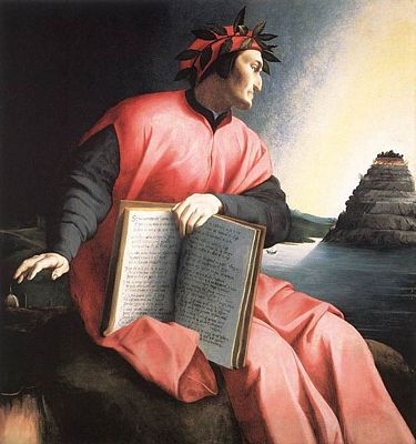 Allegorical portrait of Dante by Agnolo Bronzino, c 1530.  The book he holds is a copy of the Divine Comedy, open to Canto 25 of Paradiso.
