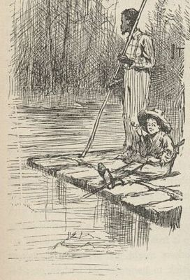 Huck and Jim on their raft by E. W. Kemble from original 1884 edition