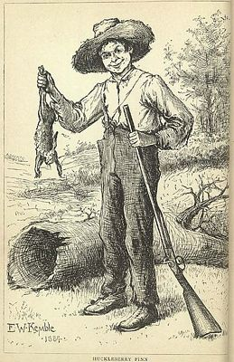 Huckleberry Finn with a rabbit, drawing by E W Kemble from the original 1884 edition of the book