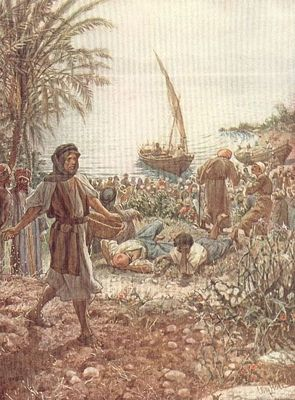 Feeding the multitude by William Hole rom The Life of Jesus of Nazareth. Eighty Pictures