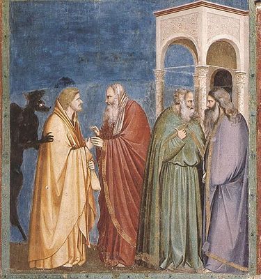 Judas receiving payment for his Betrayal, by Giotto di Bondone (1267 -1337)