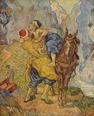 King The Good Samaritan by Van Gogh (after Delacroix).  The work of art depicted and the reproduction thereof are in the public domain worldwide.  The reproduction is part of a collection of reproductions compiled by the Yorck project.  The compilation copyright is held by Zenodot Verlagsgesellschaft MbH and licensed under GNU Free Documentation license.