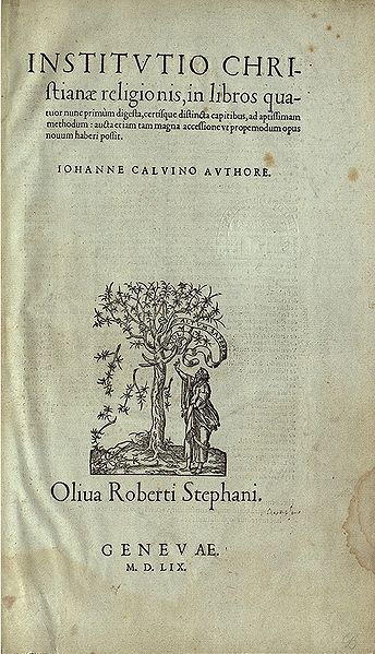 Calvin's Institutes of the Christian Religion title page