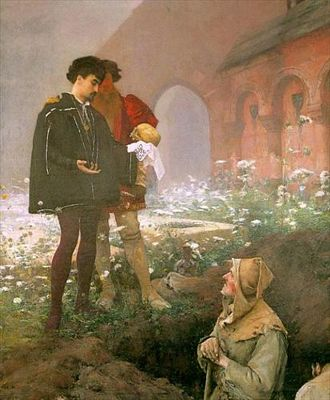 Hamlet and the Gravediggers by Pascal Adolphe Jean Dagnan-Bouveret, 1883, public domain image