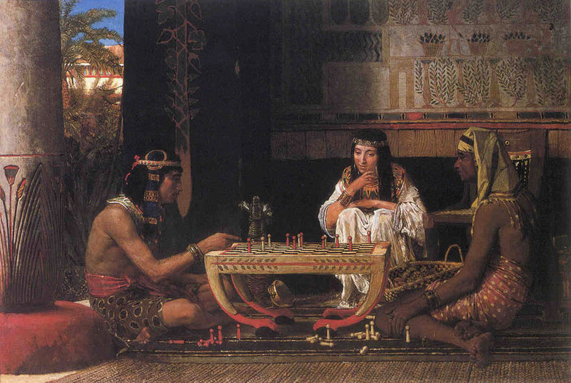 Cat Egyptian Chess Players by Lawrence Alma Tadema, public domain image