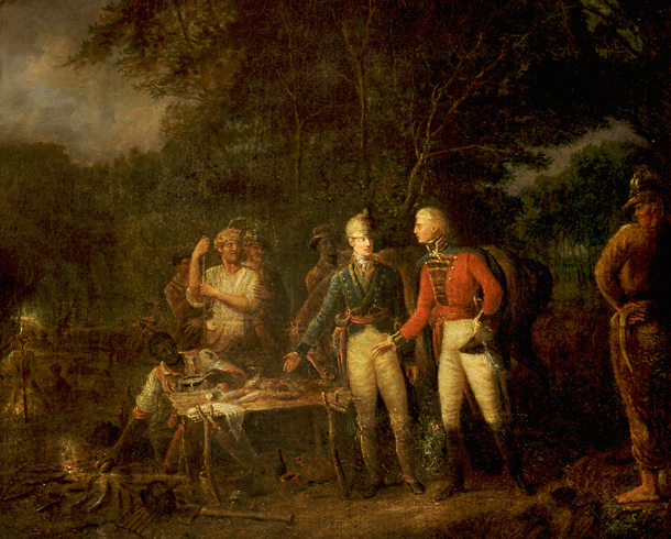 General Marion inviting a British officer to share his meal, by John Blake White, public domain image