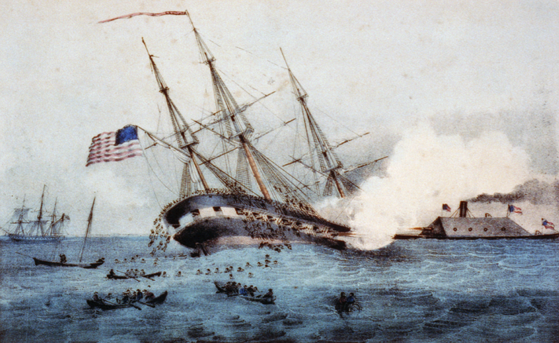 The sinking of the Cumberland by the iron clad Merrimac off Newport News VA, March 8, 1862, public domain image available from U.S. Library of Congress' Prints and Photographs division