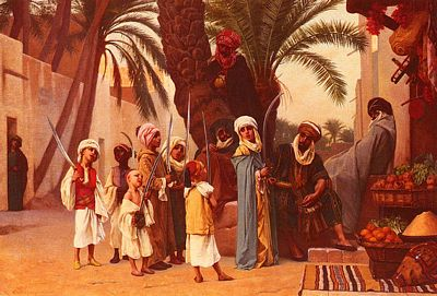 Arabian Nights, Tale of 1001 Nights by Gustave Boulanger, 1824-1888, public domain image