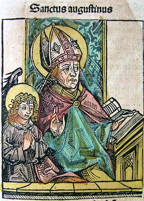 Augustine, illustration from the Nuremberg Chronicle by Harmann Schedel, public domain image