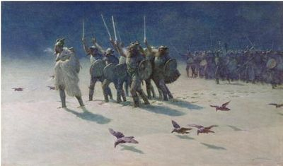 The Ravager, a painting showing Vikings in cold weather, by John Charles Dollman, 1909, public domain image