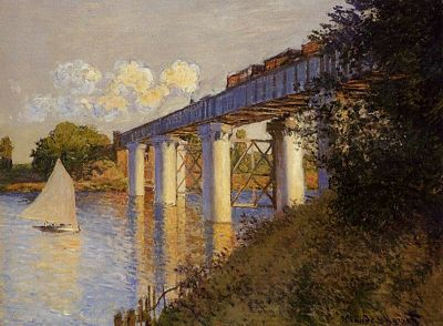 The Railway Bridge at Argenteuil by Claud Monet, public domain image