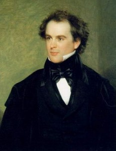 Portrait of Nathaniel Hawthorne, author of The Scarlet Letter, painted by Charles Osgood, public domain image