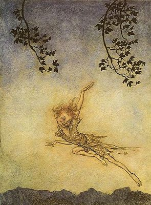 illustration of Puck from Midsummer Night's Dream by Arthur Rackham, public domain image
