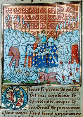 Battle of Poitiers, the King is taken prisoner by the Black Prince who recognizes him by his helmet, Chronicles of Jean Froissart, public domain image
