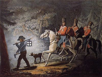 Hessian Troops in British pay during U.S. Revolutionary War, public domain image painted by artist C. Ziegler after Conrad Gessner