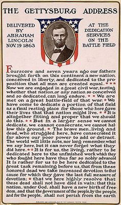 Early 20th century poster showing a bust portrait of Abraham Lincoln above the text of the Gettysburg address, public domain image