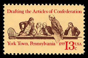US Stamp, 13 cents Articles of Confederation commemorative stamp, issued September 30, 1977, commemorating the 200th anniversary of the drafting of the Articles of Confederation, public domain image