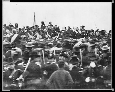 The only known photograph of President Lincoln giving his Gettysburg address on November 19, 1863, public domain image