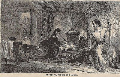 Alfred The Great Watching The Cakes, Engraving, 1854, author unknown, public domain image