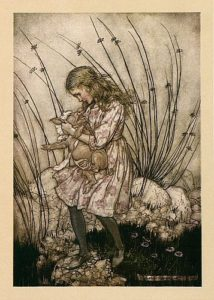 It grunted so violently that she looked down at its face in some alarm, illustration by Arthur Rackham, public domain image