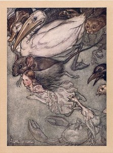 Alice The Pool of Tears, illustrated by Arthur Rackham, public domain image