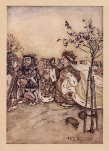 "The Queen never left off quarrelling with the other players, and shouting ""Off with his head!"" or, ""Off with her head!"", illustration by Arthur Rackham, public domain image"