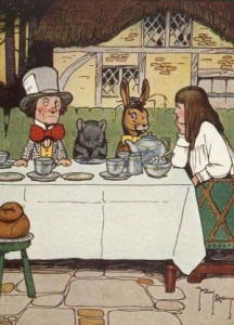 Alice at the Mad Tea Party, public domain image