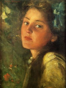 A Wistful Look by James Carroll Beckwith, public domain image