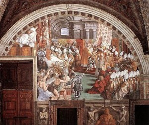Charlemagne The Coronation of Charlemagne by Rafael, public domain