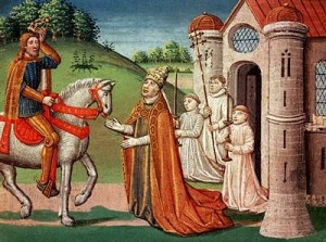 Charlemagne and Pope Adrian I, public domain