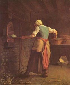 Woman baking bread by Jean Francois Millet, The work of art depicted in this image and the reproduction thereof are in the public domain worldwide. The reproduction is part of a collection of reproductions compiled by The Yorck Project. The compilation copyright is held by Zenodot Verlagsgesellschaft mbH and licensed under the GNU Free Documentation License