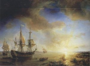 Painting by Theodore Gudin titled La Salle's Expedition to Louisiana in 1684. The ship on the left is La Belle, in the middle is Le Joly, and L'Aimable, which has run aground, is to the right.