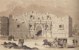 The Alamo,This is a drawing of the Alamo Mission in San Antonio, first printed in 1854 in Gleason's Pictorial Drwing Room Companion, then reprinted in 2005 in Frank Thompson's The Alamo p. 106, public domain image