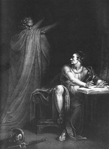Brutus and the Ghost of Caesar, copperplate engraving by Edward Scriven from a painting by Richard Westall, 1802, public domain image