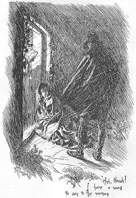 """Hush, Hannah, I have a word to say to the woman."" 1847 edition of Jane Eyre, image by F. H. Townsend, public domain"