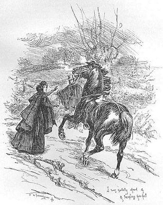 I was mortally afraid of its trampling fore-feet, 1847 edition of Jane Eyre, image by F. H. Townsend, public domain