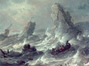 Adriaen van der Kabel, Stormy Sea with some boats near cliffs, public domain image