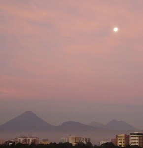 Moon and Volcanoes in Guatemala, photo by Luisfi, published under the Creative Commons Attribution Share Alike 3.0 Unported license