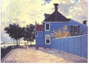 The Blue House in Zandaam by Claude Monet, public domain image