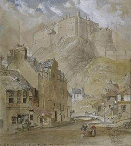 Edinburgh Castle from the Foot of the Vennel, 1845, by Horatio McCulloch, public domain image