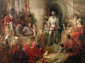 The Trial of William Wallace at Westminster by Daniel Maclise, public domain