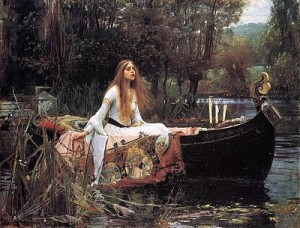 The Lady of Shalott, based on the poem by Alfred Lord Tennyson, painted by J W Waterhouse, public domain image