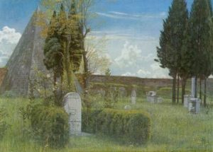 Shelley's Tomb in the Protestant Cemetery in Rome, painted by Water Crane in 1873, this painting actually shows John Keats' gravestone, public domain image