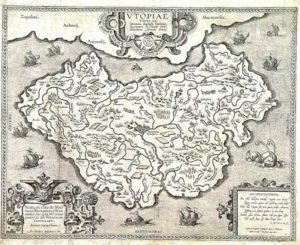 Utopia, map by Abraham Ortellius, possibly published in 1595, public domain