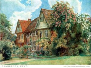 Cottage in Cranbrook, Kent, from a water color drawing by Herbert Alexander, public domain image