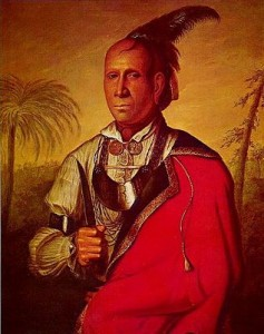 Cunne Shote (painting title), portrait of Cherokee leader Standing Turkey by Francis Parsons, public domain image