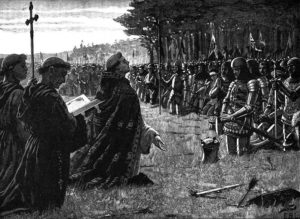 The Thanksgiving Service on the field of Agincourt by Edmund Blair Leighton, from Cassell's History of England, volume 1, public domain image
